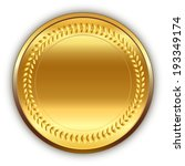 shiny round golden medal with... | Shutterstock . vector #193349174
