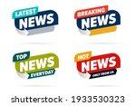 broadcast news info label set... | Shutterstock .eps vector #1933530323