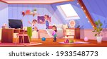 kids playing in attic room ... | Shutterstock .eps vector #1933548773