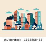 buildings and clouds cityscape... | Shutterstock .eps vector #1933568483