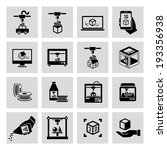 printer 3d black icons set of... | Shutterstock .eps vector #193356938
