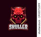 red skull devil e sports logo...
