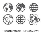 globe earth icons set on white... | Shutterstock .eps vector #193357394