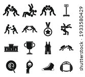 greco roman wrestling icons set....   Shutterstock .eps vector #1933580429