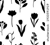 seamless pattern plants flowers ... | Shutterstock .eps vector #1933591919