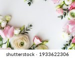 Pink And White Flowers Border...