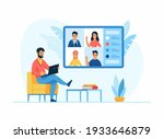 video conference online concept.... | Shutterstock .eps vector #1933646879
