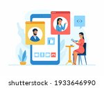 video conferencing application. ... | Shutterstock .eps vector #1933646990