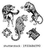 tiger  leopard  wolf vector... | Shutterstock .eps vector #1933686590