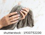 pastel beige manicure on the...   Shutterstock . vector #1933752230