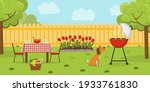 lunch in the backyard with... | Shutterstock .eps vector #1933761830