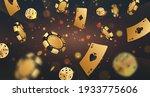 falling golden poker chips ... | Shutterstock .eps vector #1933775606