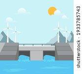 water rushing through gates at... | Shutterstock .eps vector #1933785743