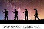 a silhouette of a man using a...   Shutterstock . vector #1933827173