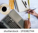 hands working on notepad with...   Shutterstock . vector #193382744
