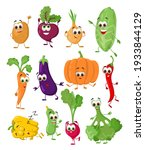 set of funny vegetables with... | Shutterstock .eps vector #1933844129