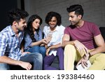 group of friends reading a... | Shutterstock . vector #193384460