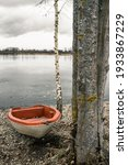 An old abandoned rowboat on a...