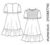 girls' long peasant dress  flat ... | Shutterstock .eps vector #1933887740