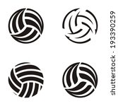 set of black vector volleyball... | Shutterstock .eps vector #193390259