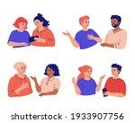 young couple of friends of men... | Shutterstock .eps vector #1933907756