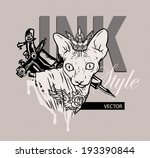 naked cat with a tattoo. the... | Shutterstock .eps vector #193390844
