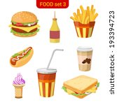 fast food vector icon set.... | Shutterstock .eps vector #193394723