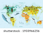 world map with different animal.... | Shutterstock .eps vector #1933966256