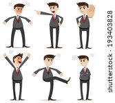 illustration of cartoon businessman angry set