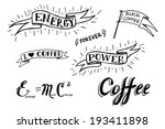 set of hand drawn coffee theme... | Shutterstock .eps vector #193411898