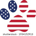 dog paws with the usa american... | Shutterstock .eps vector #1934152913