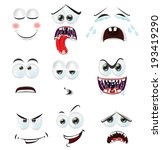 cartoon faces with emotions | Shutterstock .eps vector #193419290