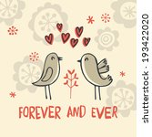 vector card with cute flowers ... | Shutterstock .eps vector #193422020