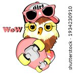 Cool Pink Owl Girl With Skate