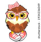 Baby Owl Girl With Pink Objects