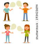 cartoon people talking happily | Shutterstock .eps vector #193423694