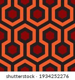 Seamless geometric pattern. Abstract background of hexagon figure. Shining. The Overlook hotel carpet. Wrapping paper and fabric texture.
