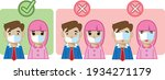the right way to wear a mask | Shutterstock .eps vector #1934271179