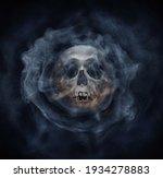 a skeleton's skull and smoke.... | Shutterstock . vector #1934278883