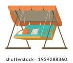wooden garden swing with... | Shutterstock .eps vector #1934288360