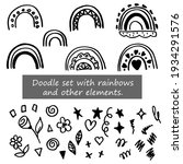 doodle set with rainbows and...   Shutterstock .eps vector #1934291576