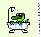 pixel crocodile bathing. vector ...