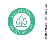 co2 neutral label with trees...   Shutterstock .eps vector #1934339639