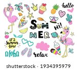 set of summer flamingos... | Shutterstock .eps vector #1934395979