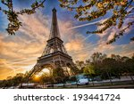 eiffel tower with spring tree... | Shutterstock . vector #193441724