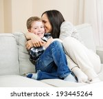 happy young mother with her son ... | Shutterstock . vector #193445264