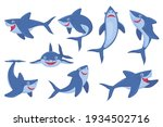 cute smiling shark flat... | Shutterstock .eps vector #1934502716