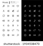 music linear icons set for dark ...