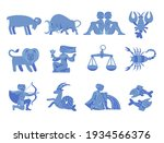 set of blue zodiacal signs with ...   Shutterstock .eps vector #1934566376