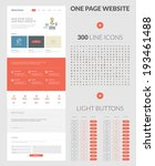 One page website design template. All in one set for website design that includes one page website templates, set of 300 line icons, and set of normal, hovered and pressed light buttons.